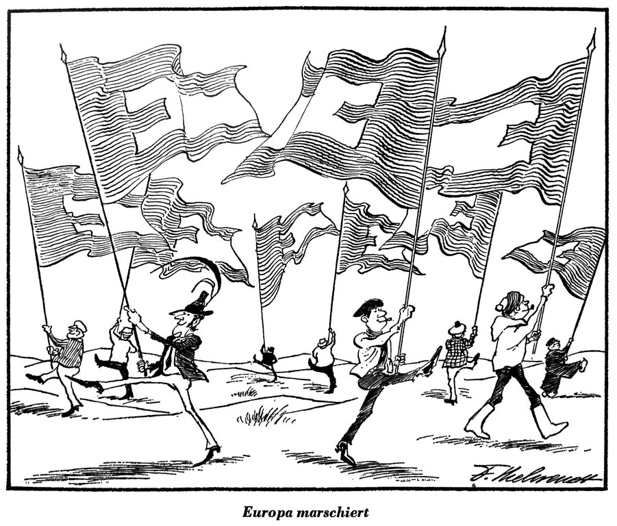 Cartoon by Behrendt on the European elections by universal suffrage (3 December 1976)