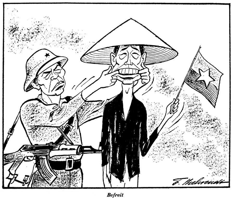 Cartoon by Behrendt on the outcome of the Vietnam War (23 April 1975)