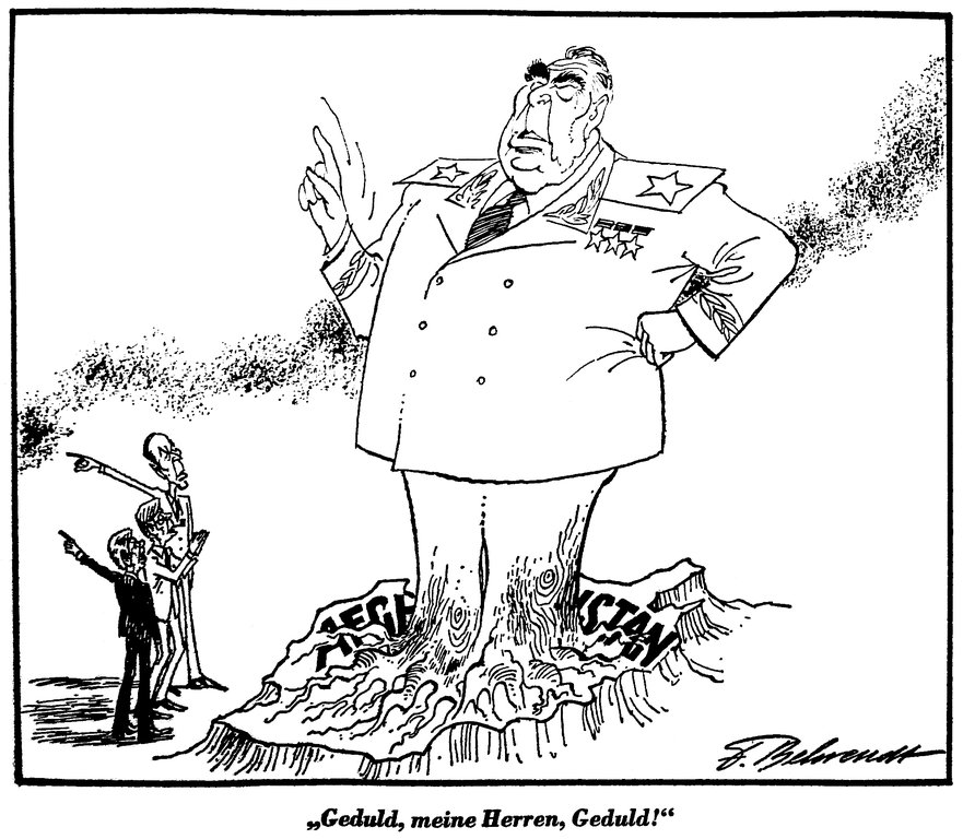 Cartoon by Behrendt on the Soviet invasion of Afghanistan (11 July 1980)