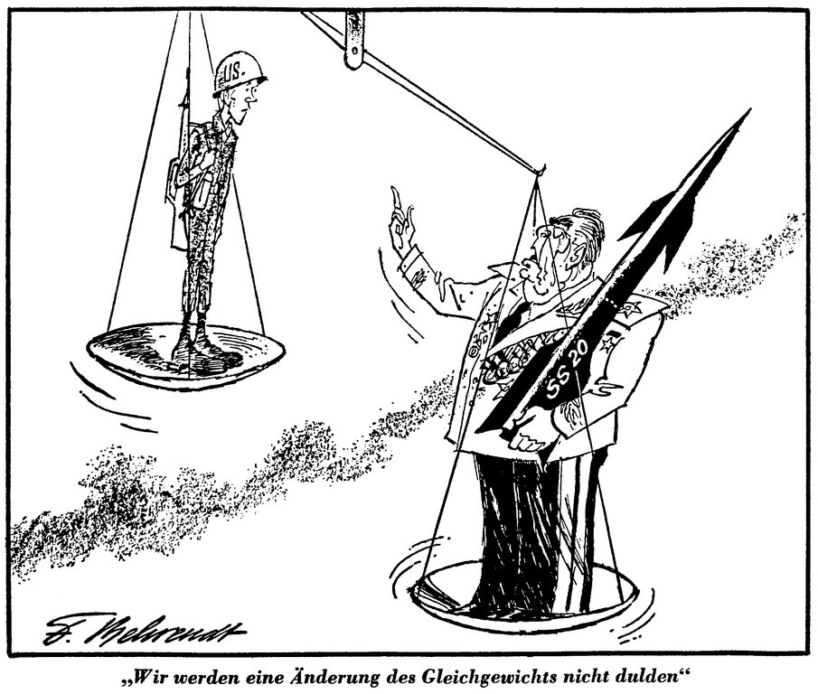 Cartoon by Behrendt on the consequences of the installation of Soviet SS-20 missiles (21 November 1980)
