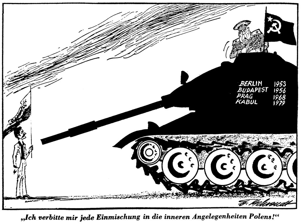 Cartoon by Behrendt on the risks of Soviet military intervention in Poland (12 December 1980)