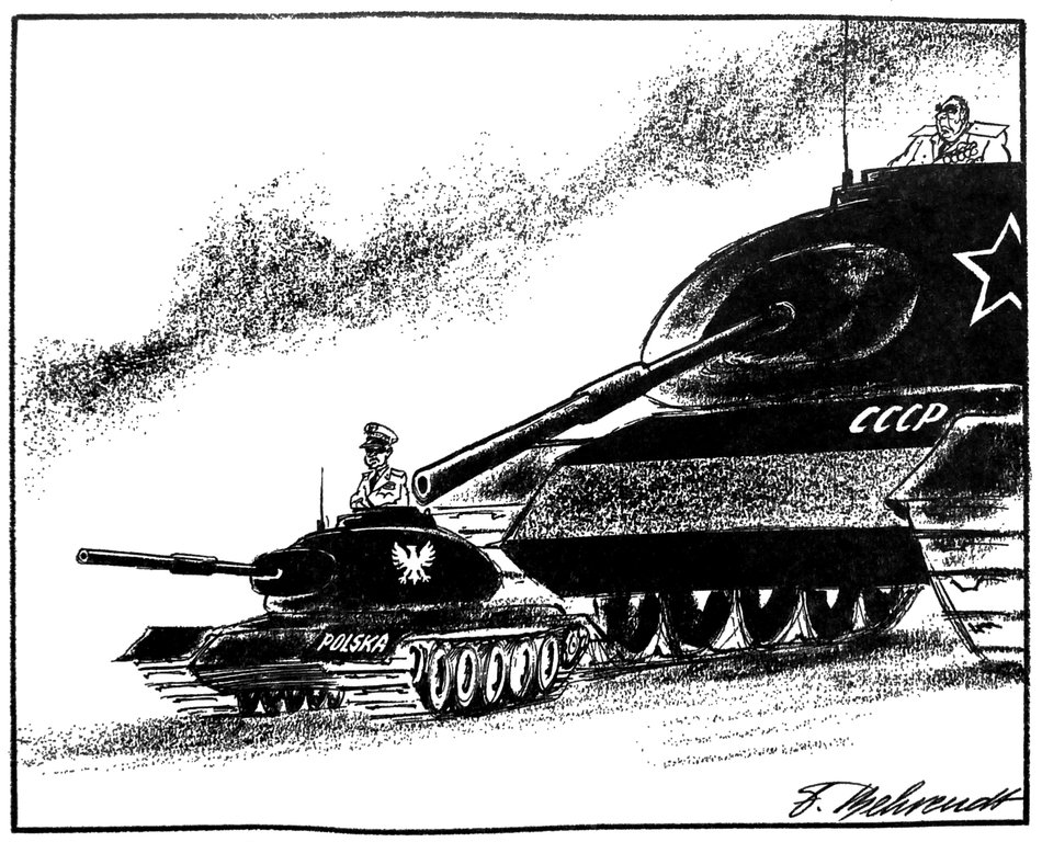 Cartoon by Behrendt on the possible consequences of the proclamation of the state of war in Poland (16 December 1981)