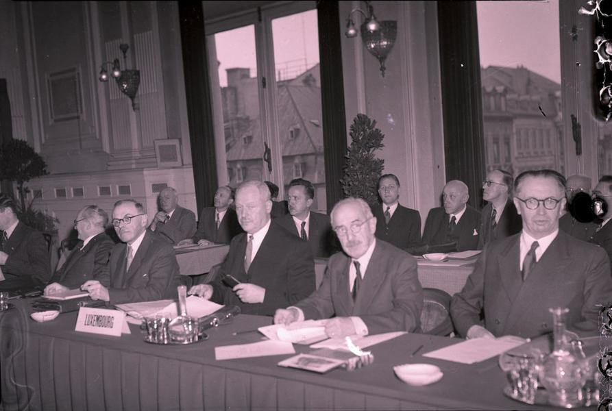 The Luxembourg delegation during the talks on the Benelux Pre-Union Treaty (Luxembourg, 1949)
