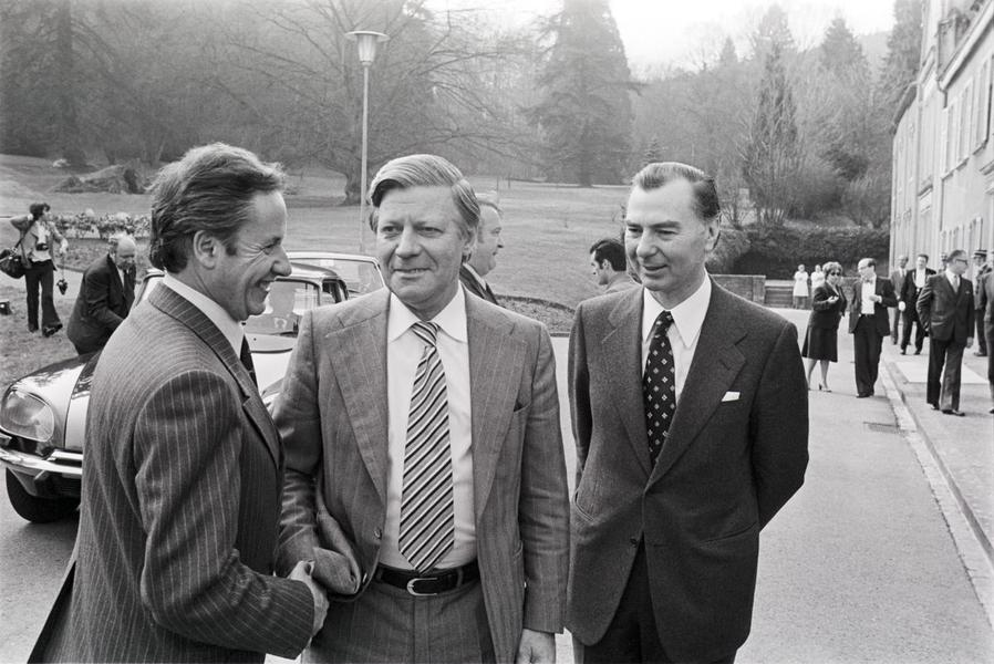 Gaston Thorn, Helmut Schmidt and Leo Tindemans at the Luxembourg European Council (1 April 1976)