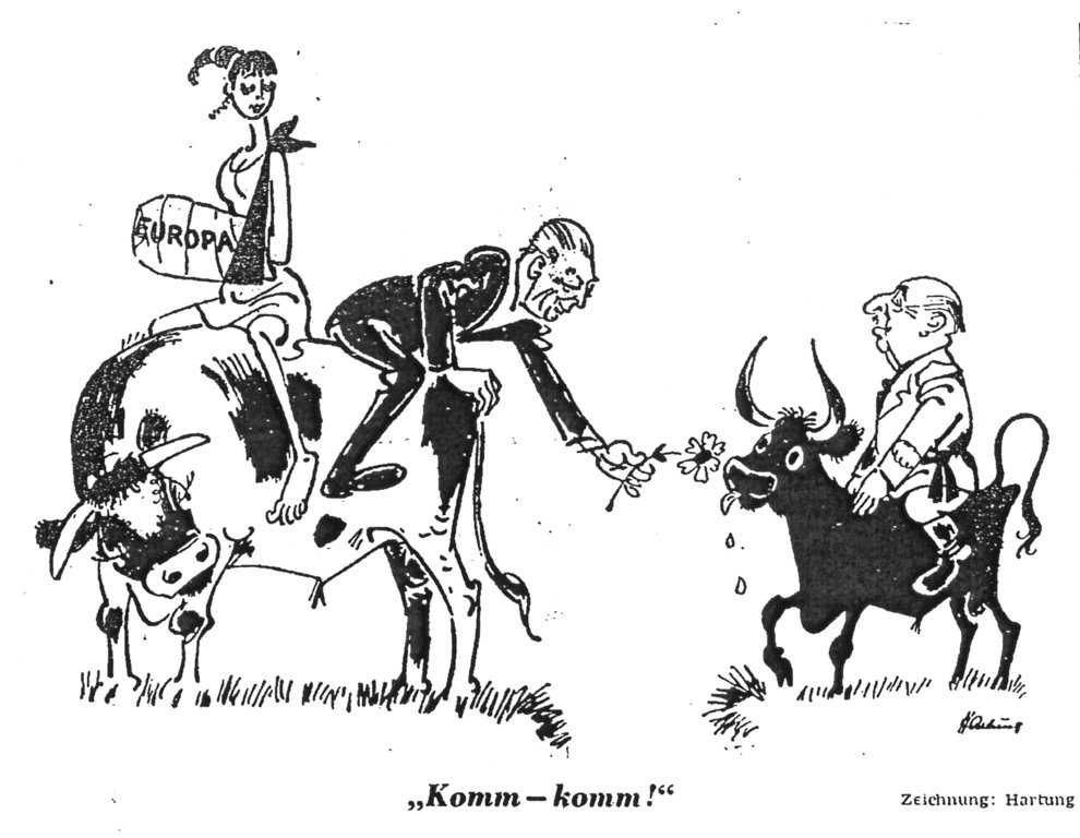 Cartoon by Hartung on the establishment of closer relations between Francoist Spain and the EEC (30 October 1968)