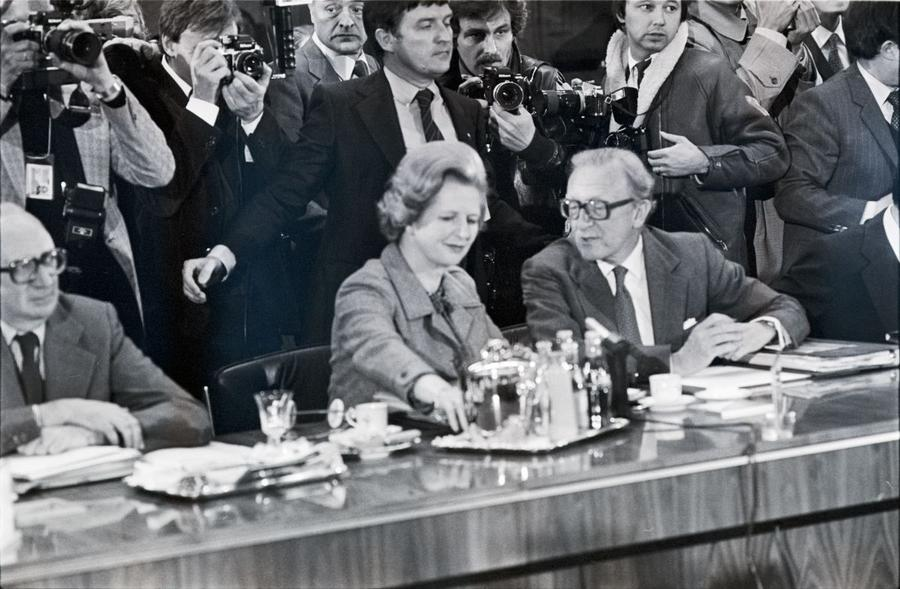 Margaret Thatcher and Lord Carrington at the Luxembourg European Council (27–28 April 1980)